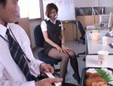 Gorgeous office milf Akari Asahina gives an arousing footjob picture 11