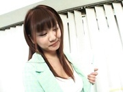 Office babe Meguru Kosaka gives awesome blowjob