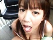 Office babe Meguru Kosaka gives awesome blowjob