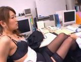 Naughty Asian office worker gives a blowjob