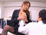 Naughty Asian office worker gives a blowjob picture 7