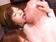 Group of school babes fucks an older guy only to get cum in they mouths!