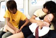 Masaki China gets some pussy stimulation at the bus by some strangers.big round tits, big tits sex