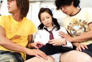 Masaki China gets some pussy stimulation at the bus by some strangers.japanese tits, sex tits