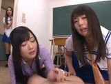 Sugary Asian schoolgirls  cock with hands and mouths picture 4