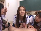 Sugary Asian schoolgirls  cock with hands and mouths picture 8