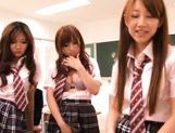 Kokomi Naruse, Hiyori Nanoka and Hinami Kawasumi share one cock in a foursome! picture 12