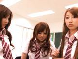 Kokomi Naruse, Hiyori Nanoka and Hinami Kawasumi share one cock in a foursome! picture 6
