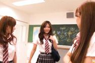 Kokomi Naruse, Hiyori Nanoka and Hinami Kawasumi share one cock in a foursome!japanese tits, boobs tits