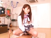 Kinky Japanese school babes getting some cock in her pussies.