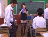 No Panties And Stockings Makes Teacher Yuna Shiina Fuckable