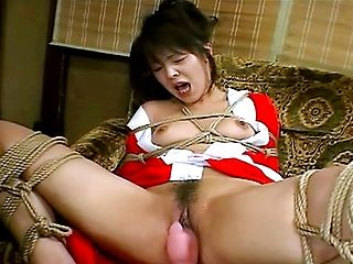 Horny Japanese babe tied up and fucked!