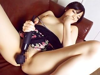 Arousing Japanese AV Model masturbates and deepthroats her stud