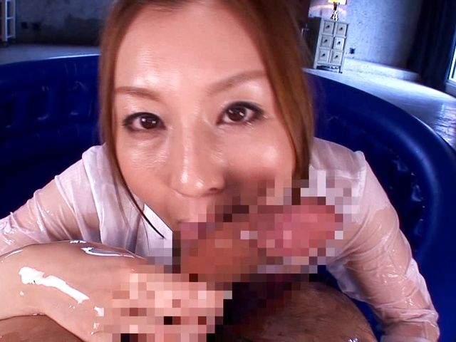 Horny Yui Tatsumi gives a steamy massage and blowjob
