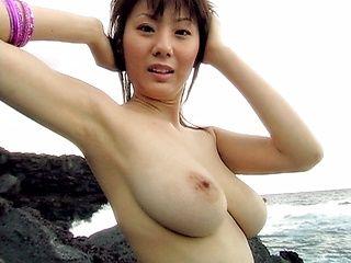 Yuma Asami show her big boobs outdoors