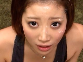 Makoto Yuuki's Face Covered In Cum After A POV Blowjob