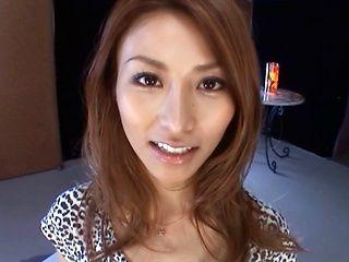 Akari Asahina naughty Asian babe gives CFNM handjob