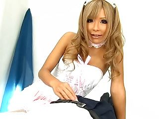 Sexy Japanese AV model is a maid jerking off her boss