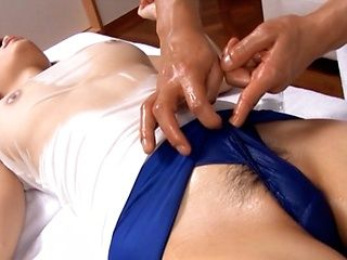 Massaging Couple Ends In A Teen's Creampied Pussy