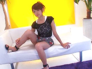 Cute Sayaka Fukuyama exploring toy insertion