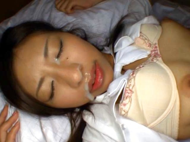 Haruka Nagao in her smart office suit gets spit roasted