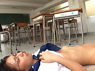 Yuuki Itano Asian teen in school uniform in hot threesome