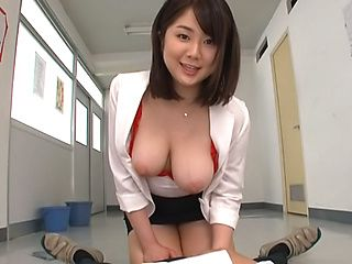 Busty beauty pleasing in POV