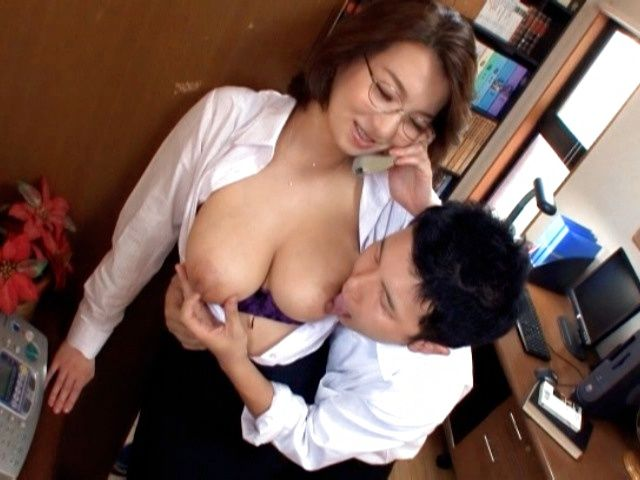 Hot mature Mio Takahashi gets huge boobs licked